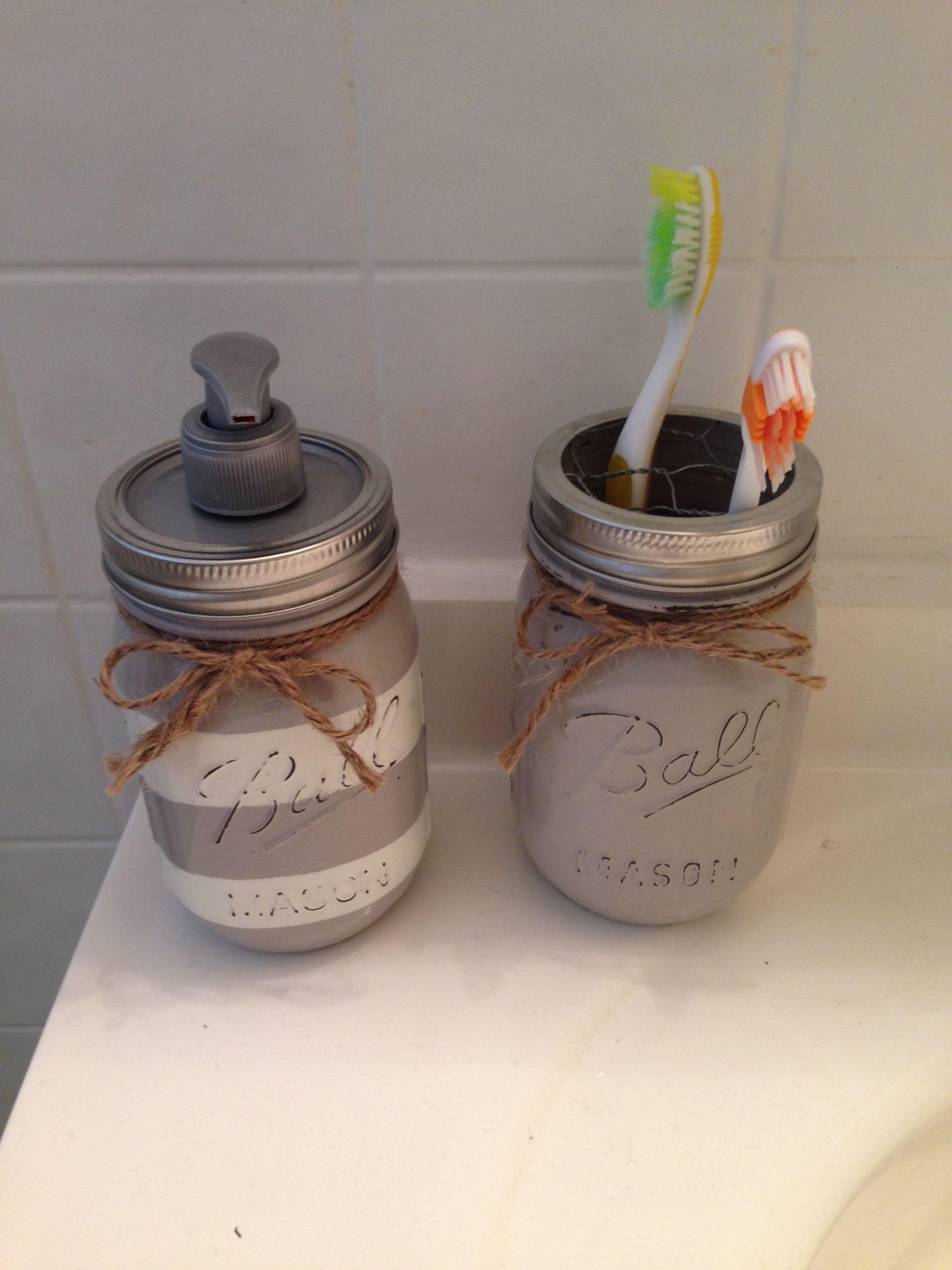 Diy Mason Jar Soap Dispenser And Toothbrush Holder Mason Jar