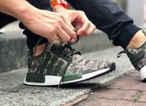 0fda465aed311 Have a look at Adidas NMD R1 Duck Camo Sesame Green   Black Grey ...
