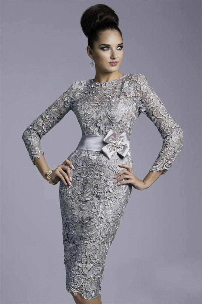 Silver Mother Bride Dresses Tea Length