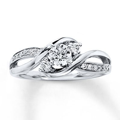 5f83519308ad60 Three-Stone Engagement Ring 3/8 ct tw Diamonds 14K White Gold ...