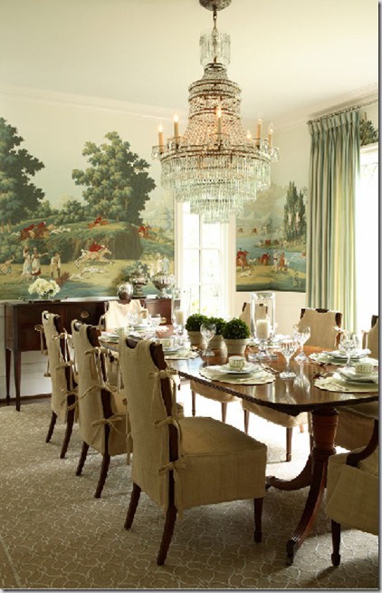 Formal Dining Room With Urnay Wallpaper Contrasted
