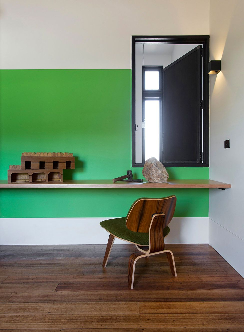 Desk under window ideas  stonewood suburb house in melbourne by breathe architecture  house