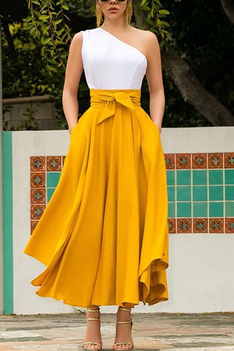 Fashion Casual Elegant Yellow Skirt (yellow/XL)