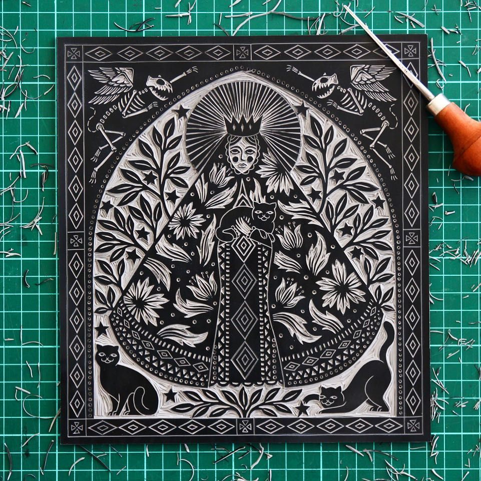 """Jessica Benhar on Instagram: """"17 hours of carving later... she's finally done! 🙌#patronsaintofcats #cats #illustration #wip #printmaking #linocut #linoprint #blockprint…"""" -  17 hours of carving later… she's finally done! 🙌#patronsaintofcats #cats #illustration #wip  - #Benhar #blockprint #carving #cats #finally #hours #illustration #Instagram #Jessica #Linocut #linoprint #patronsaintofcats #Printmaking #Sculpture #shes #WeddingPhotography #wip"""