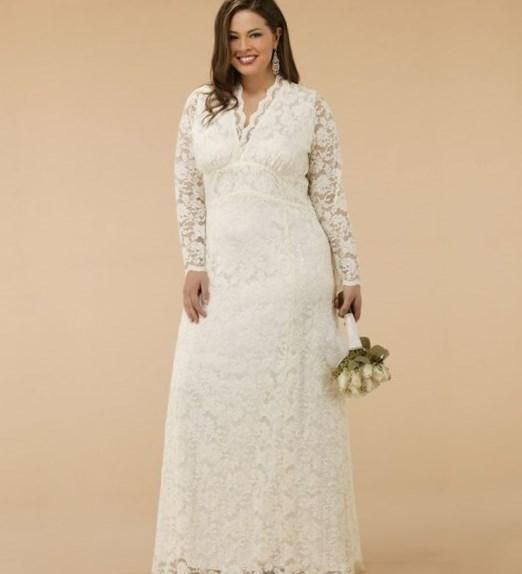 Custom Made Lace Plus Size V Neck Tea Length Wedding Gown Dress ...