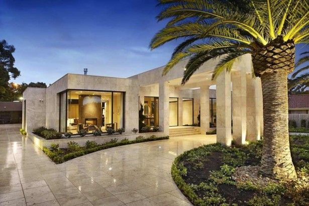 Architectures, Simple Modern Home Design With Marble Wall And ...