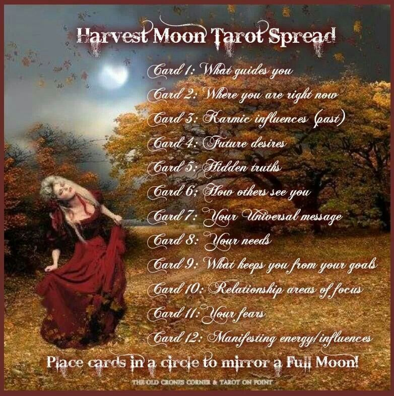 Harvest moon tarot spread | Tarot Card Layout | Oracle Cards | Cartomancy | Divination | Psychic | Occult | Moon Ritual | Wicca | Ceremony #fullmoontarotspread
