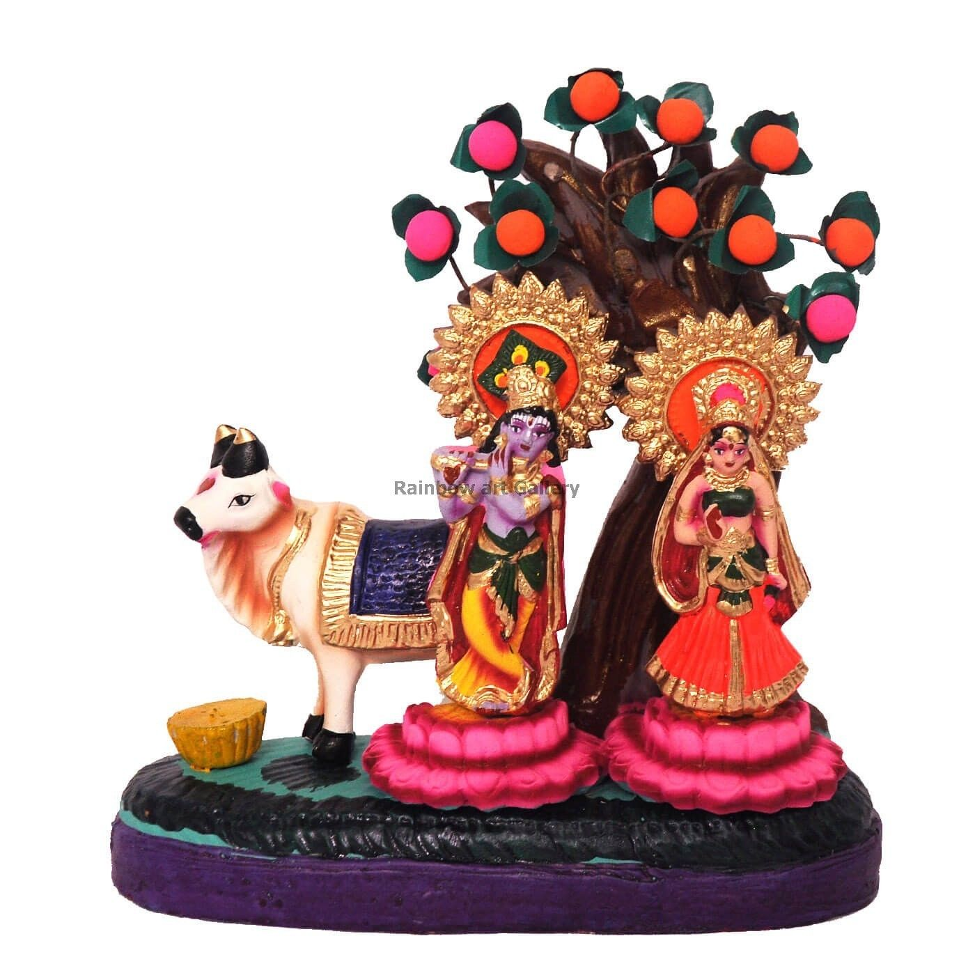 Kondapalli toys images  Radha Krishna Cow