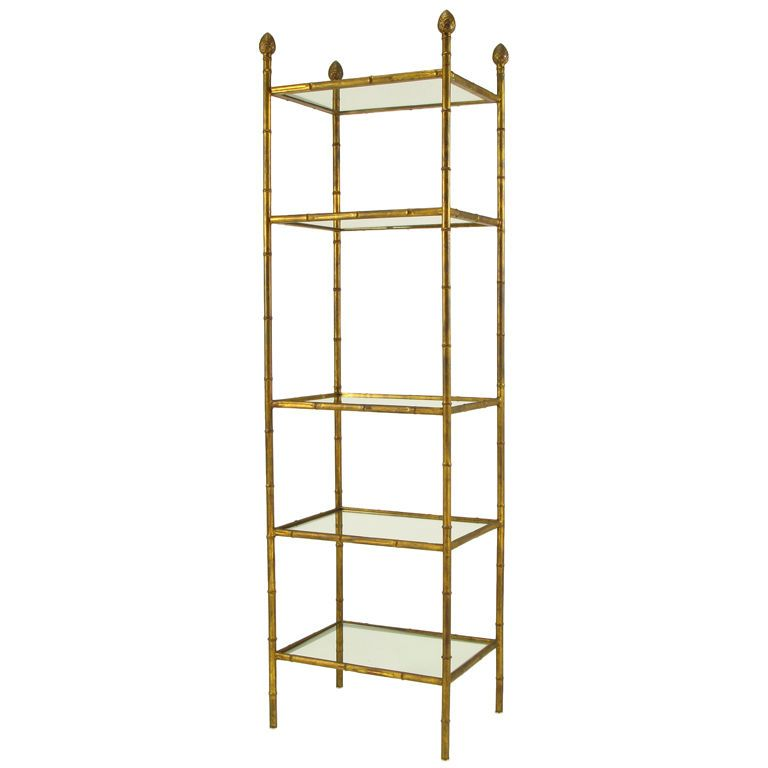 Gilt Metal Bamboo Form Etagere With Pineapple Finials USA Circa 1960s Aged Gilt  Metal Etagere In Photo
