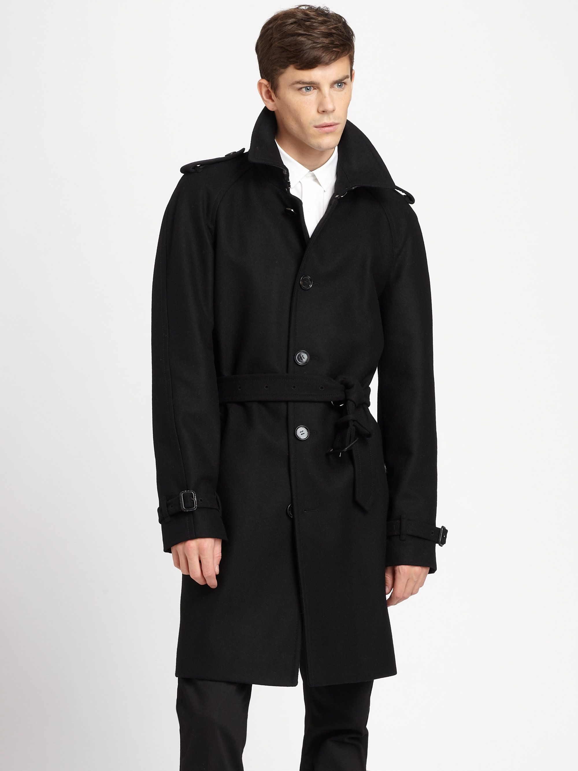 Burberry Wool Single Breasted Trench Coat In Black For Men Burberry Trench Coat Wool Single Br Trench Coat Outfit Spring Trench Coat Outfit Trench Coat