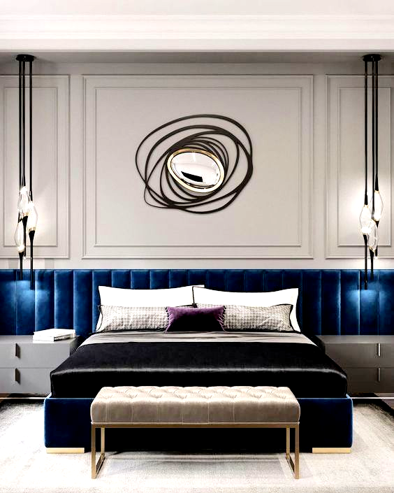 Hotel Room Accessories: Luxury Blue Bedroom Decor With Blue Extended Headboard In