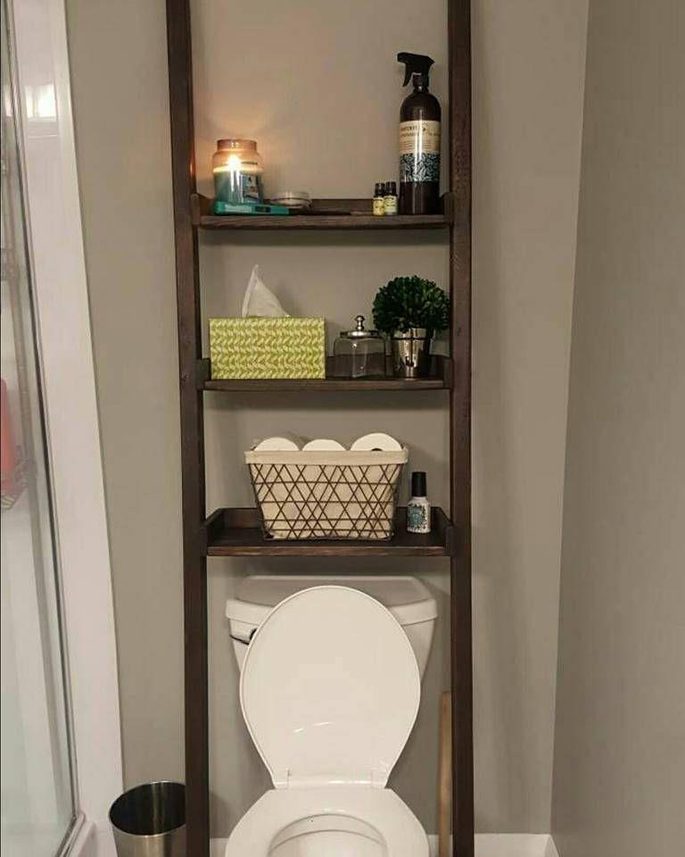 Uber Dem Wc Leiter Regal Wahlen Sie Farbe Und Breite Regal Simple Bathroom Renovation Over The Toilet Ladder Small Bathroom Storage