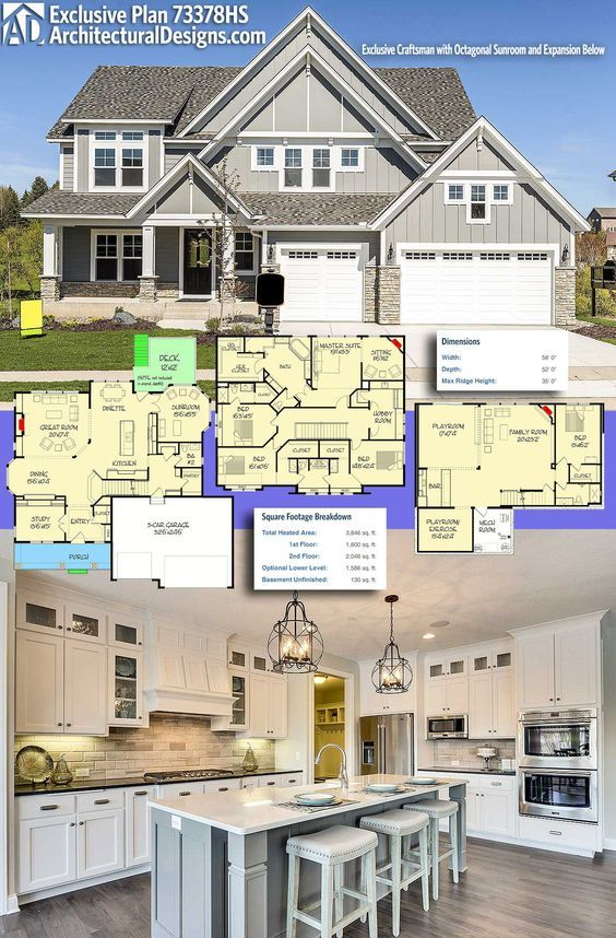 Plan 73378HS: Exclusive Craftsman With Octagonal Sunroom And Expansion  Possibilities   House, Future And Future House