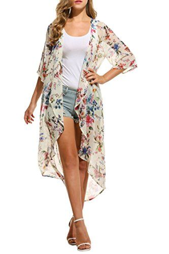 4d90037133a Beyove Women s Chiffon Kimono Beach Bikini Cover Up Floral Cardigan ...