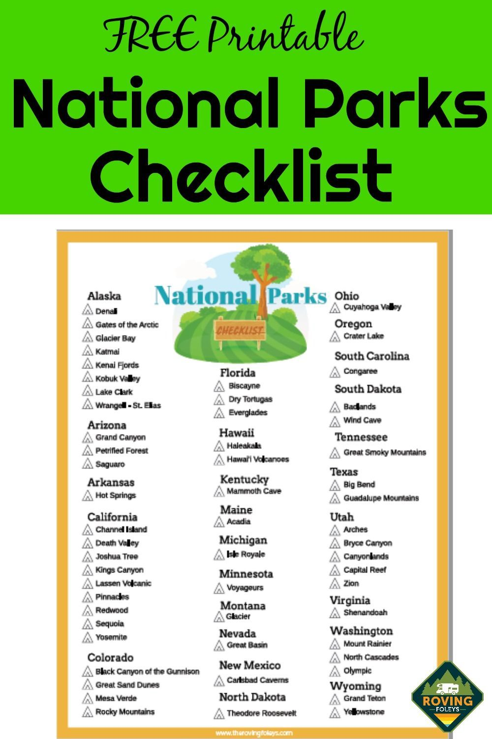 photograph relating to Printable National Park Checklist known as Nationwide Parks List (Free of charge Printable) RV Tenting