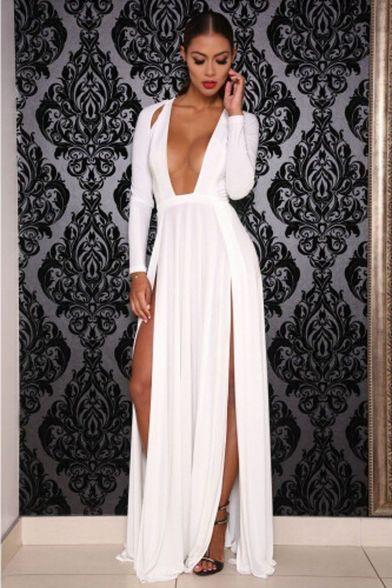 5613482335 Elektra White Long Sleeve Deep Plunge Hi Slit Maxi Dress | Fashion ...
