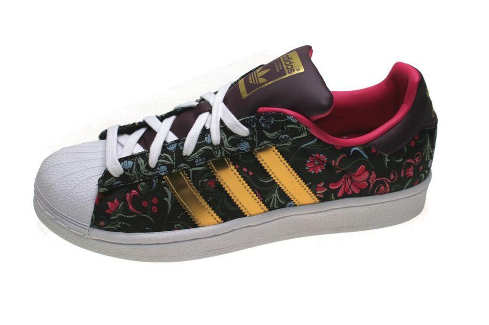 Adidas Sneaker Superstar W Flower Schwarz Merlot Rot Gold Adidas Sneaker Schwarz Sneaker