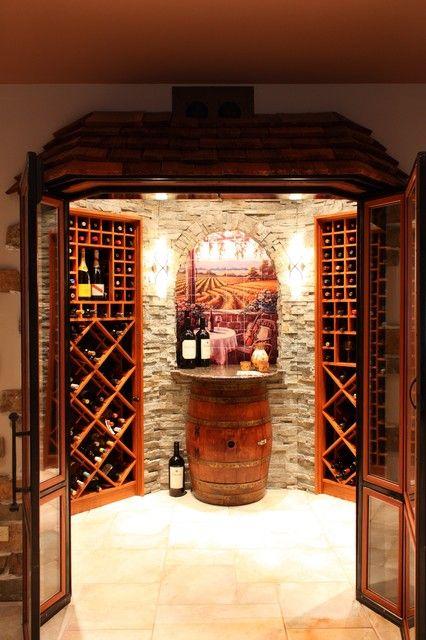 Wine Cellar Art On Tile Mural - mediterranean - wine cellar ...