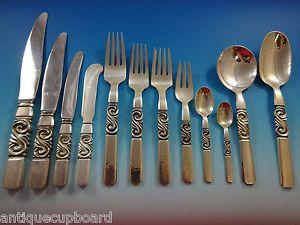 SCROLL-BY-GEORG-JENSEN-STERLING-SILVER-FLATWARE-DINNER-SET-12-SERVICE-175-PCS