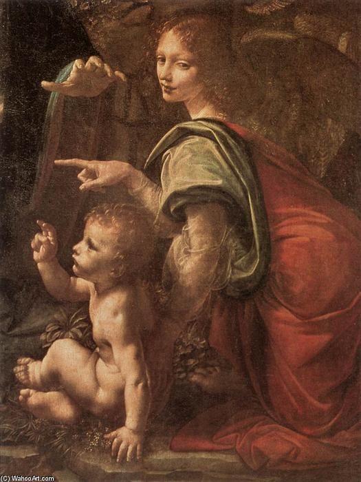 """""""Vergine delle rocce (particolare) (2)"""", olio su pannello di Leonardo Da Vinci (1452-1519, Italy)"""