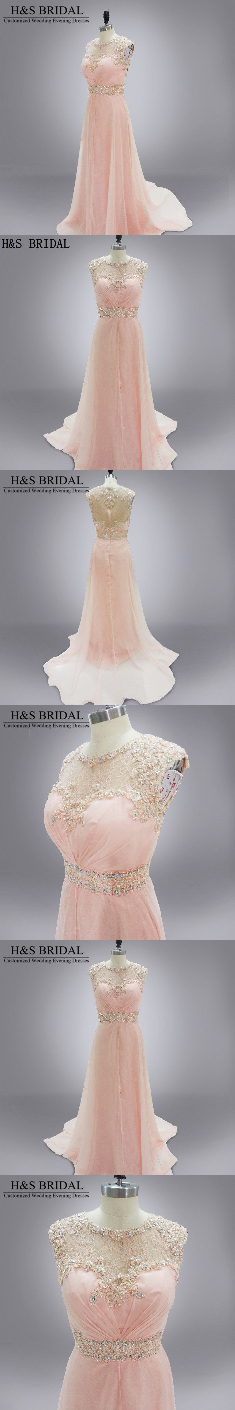 Hus bridal real photo light pink evening party gown chiffon and