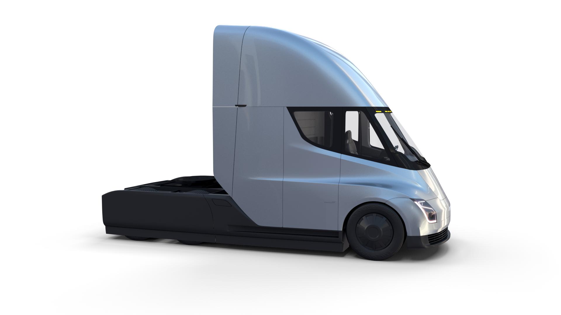 Tesla Truck With Interior And Trailer Silver Tesla Trucks Semi Trailer