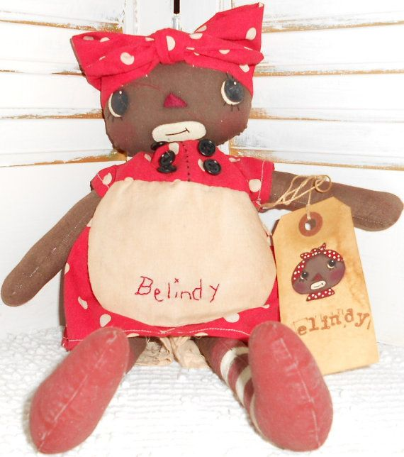 Belindy Handmade Primitive Black Mammy Raggedy by raggedyjaynes
