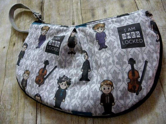 Adorable #Sherlock clutch bag by a favorite of mine - Brooke Van Gory Designs - there are many other #fandom clutches including #SailorMoon, #DrWho, #StarWars and more.  Perfect gift for the nerdy-cool gal #GiftsUnder50