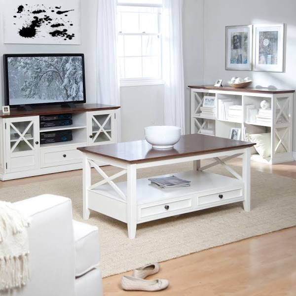 Belham Living Hampton TV Stand White Oak KY041 WO