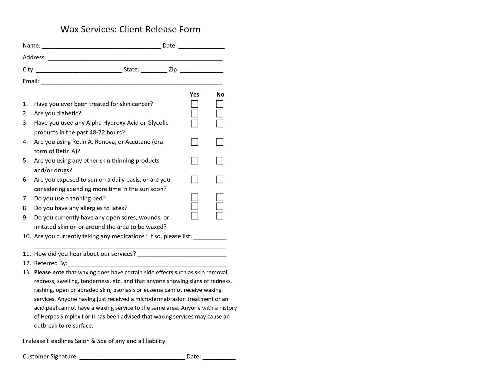 Waxing Consent Form Template  Waxing Form    Template