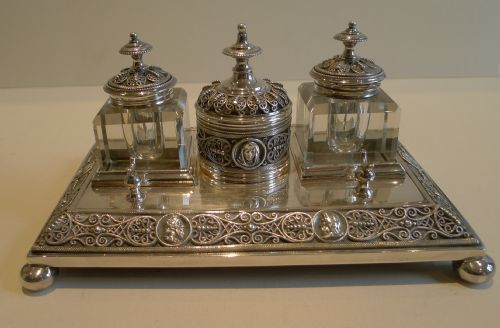 Silver Plated Inkwell Desk Set C 1890 Antiquariato