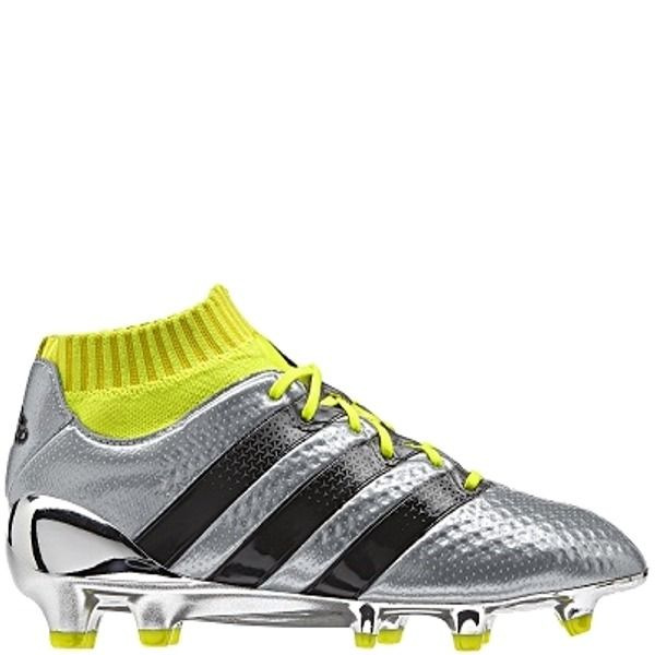 adidas ACE 16.1 Primeknit Silver Metallic/Core Black/Solar Yellow FG Youth  Soccer Cleats