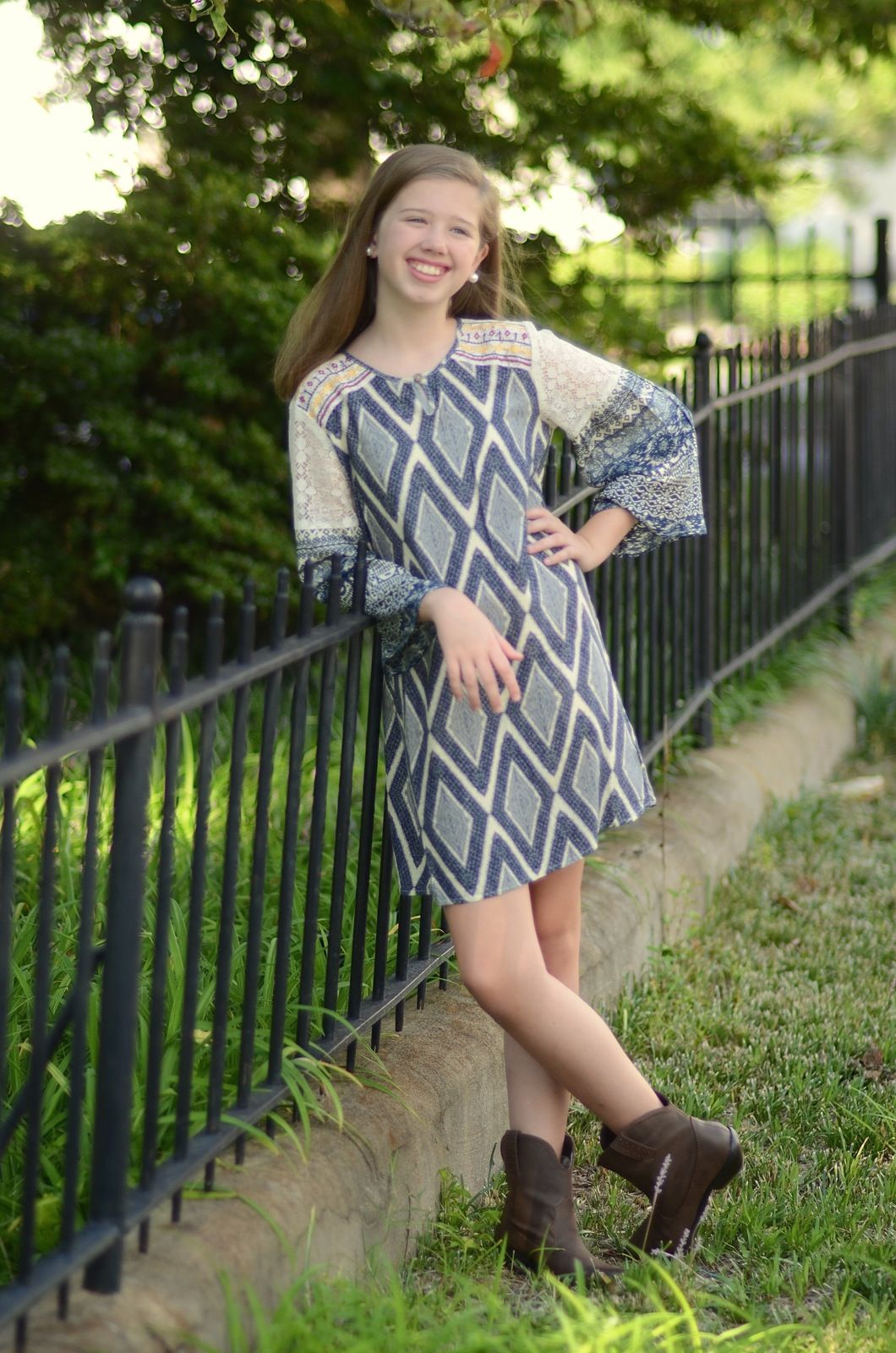 Aztec Pattern Contrast Sleeve Dress for tween girls. A Betwixt Tween ...