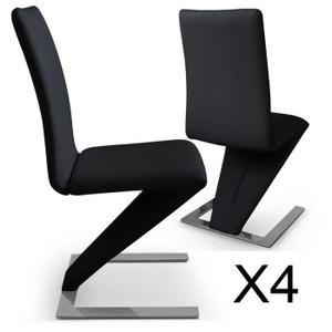 CHAISE Lot de 4 chaises Delano Noir