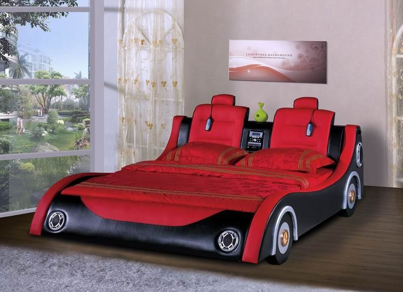 Love The Race Car Shape I Also Like The Speakers For Headlights One Of The Coolest Beds I Have Ever Seen Race Car Bed Twin Car Bed Kids Car Bed