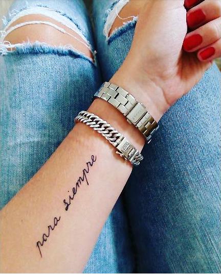 'Para Siempre' Arm Tattoo Small