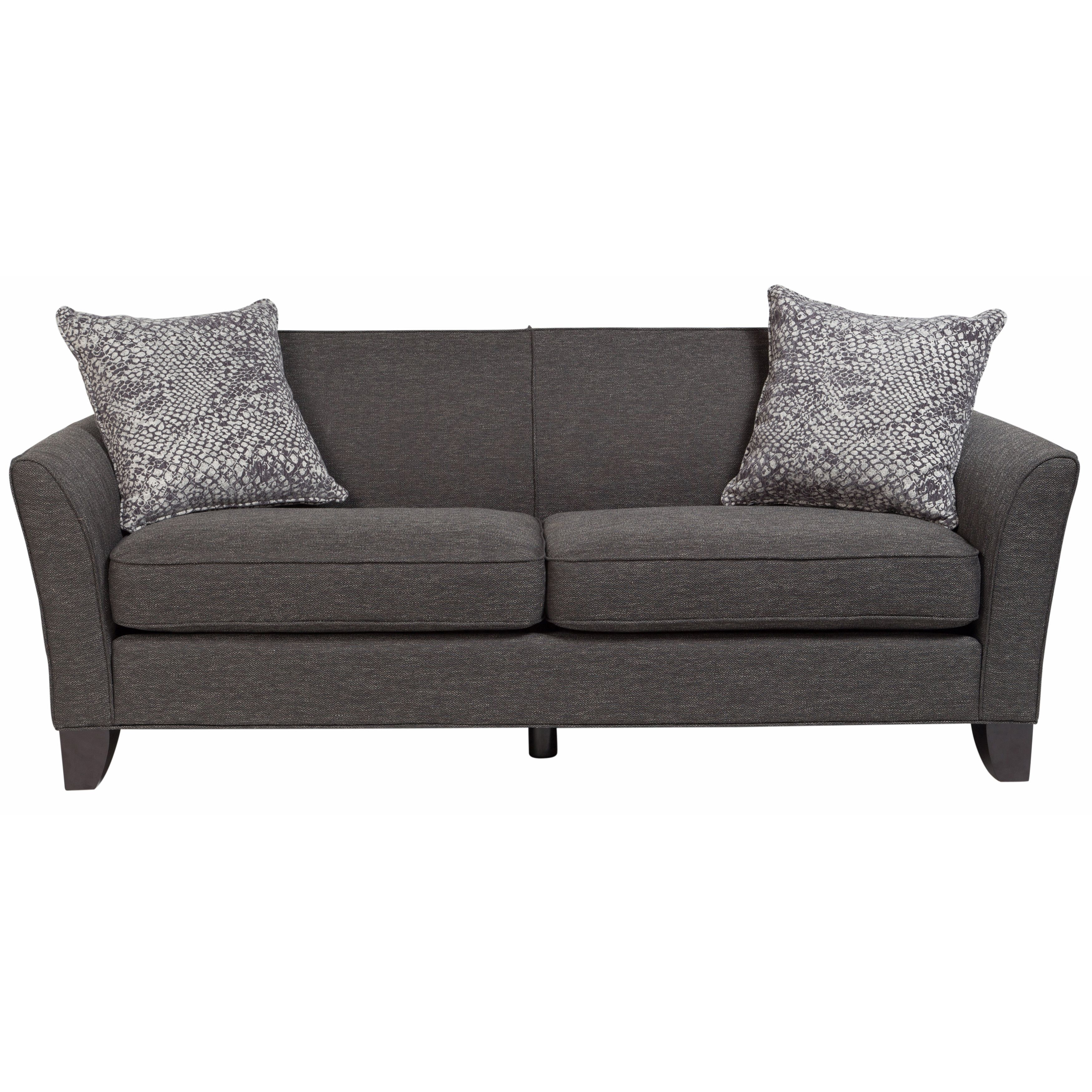 Porter Medusa Charcoal Mid Century Modern Sofa with 2 Woven