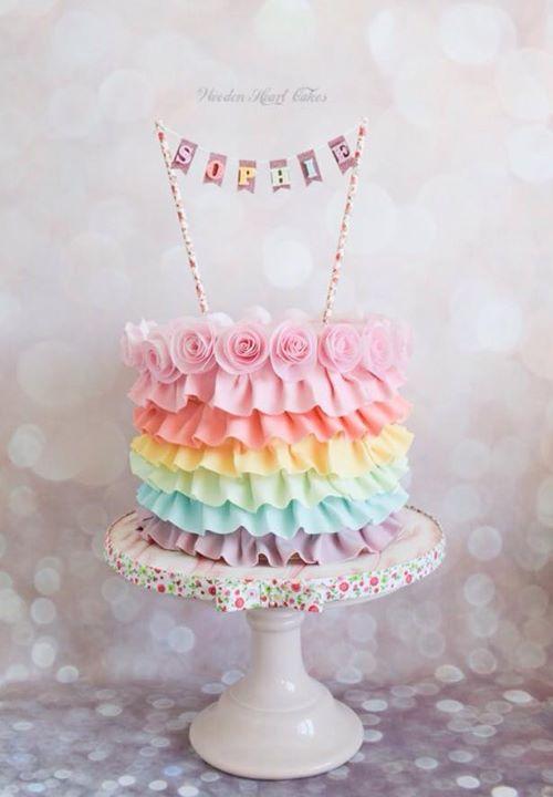 A Pastel Coloured Rainbow Cake En 2019 Tarta De