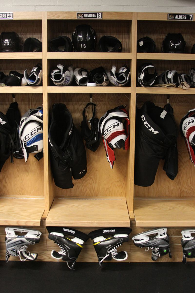 Equipment in the Lumberjacks locker room Hockey