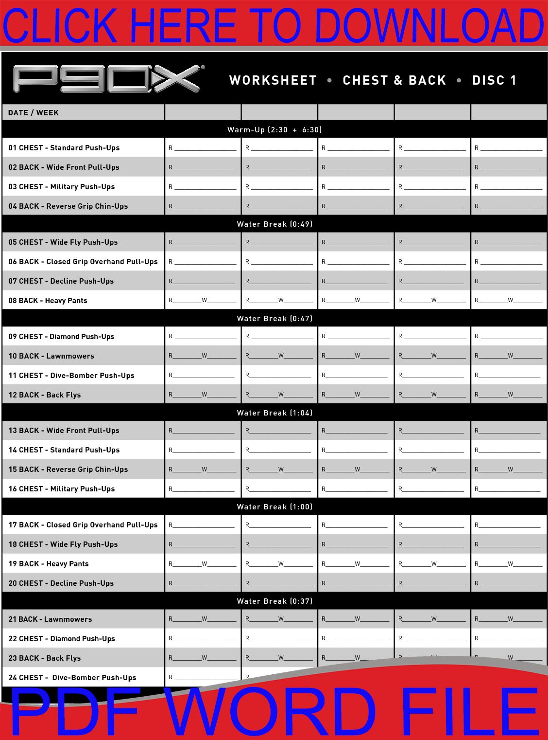P90x Workout Worksheets