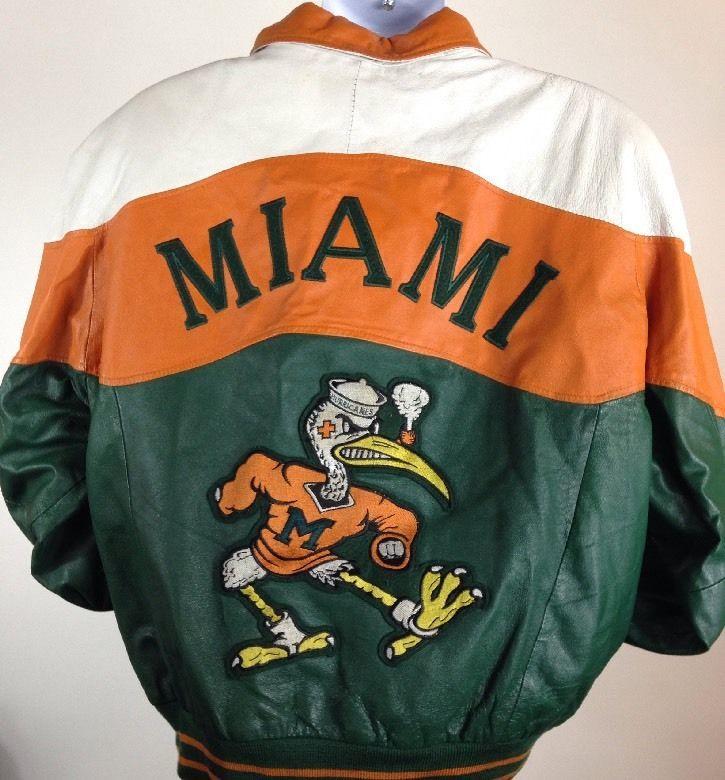 Vintage University Of Miami Hurricanes Leather Jacket Free Shipping Xl Vintage Mens Fashion Jackets University Of Miami Hurricanes