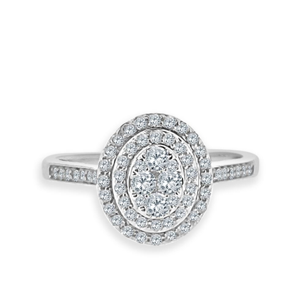 Ring · 18ct White Gold 048ct Oval Cluster Diamond Vintage