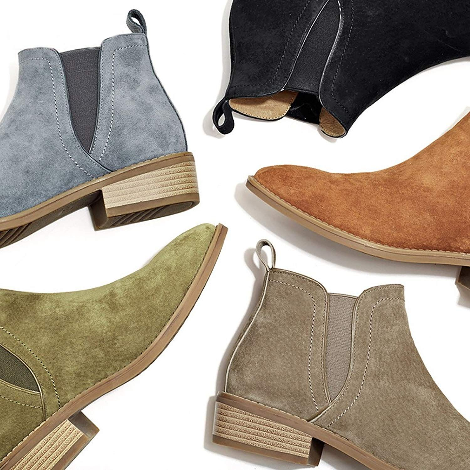 f572439a6cf0 Odema Women s Suede Elastic Panel Chelsea Flat Low Heel Pull On Ankle Bootie      Be sure to check out this awesome product. (This is an affiliate link)