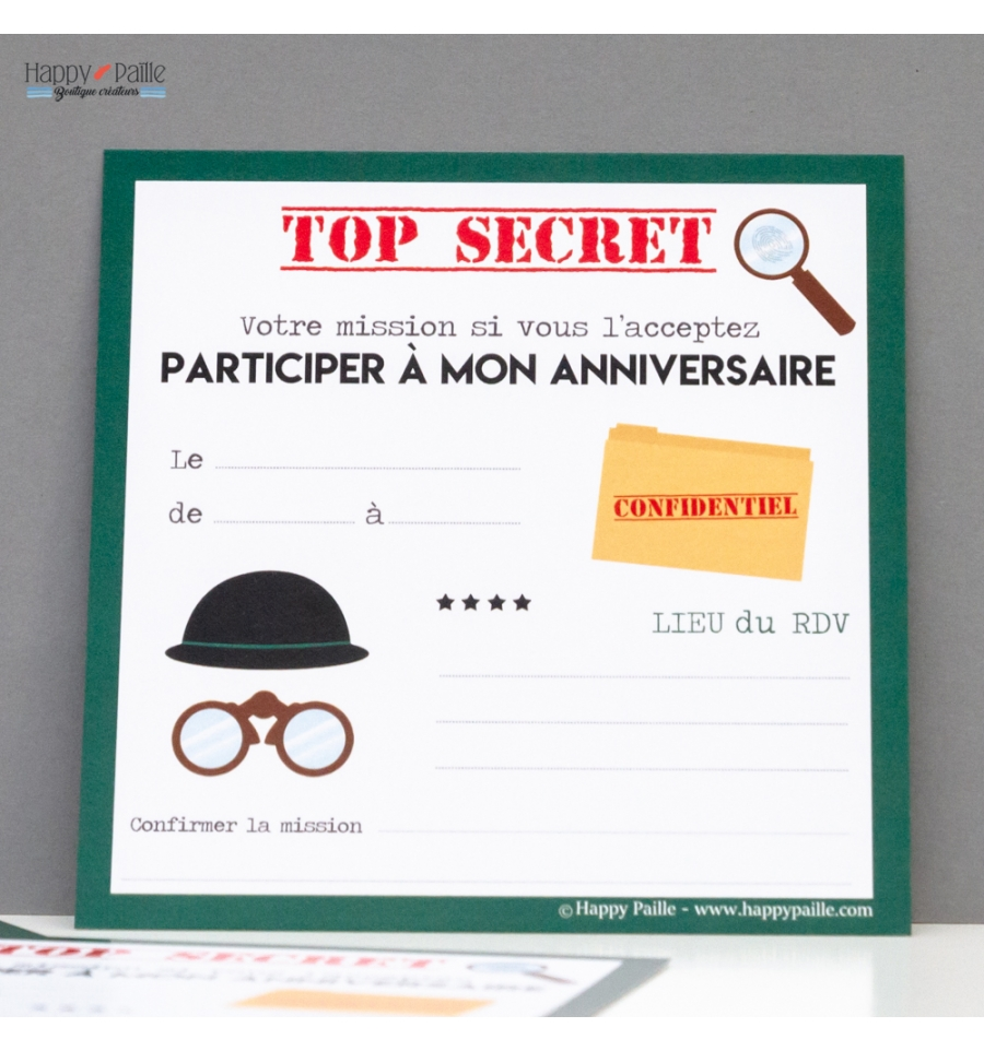 invitation anniversaire agent secret