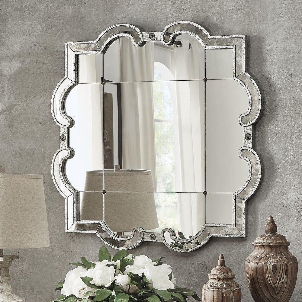 Rustic Wall Mirror For Living Room Decor Geometric Silver Scroll Antique  Chic
