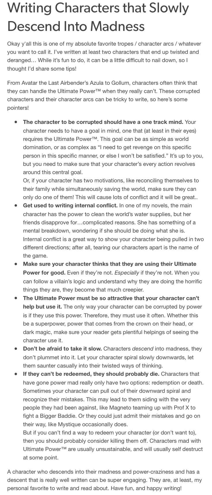 Crazy characters that go mad  Writing characters, Writing tips