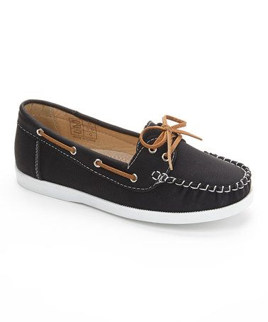 Loving this Black Boat Shoe on #zulily! #zulilyfinds