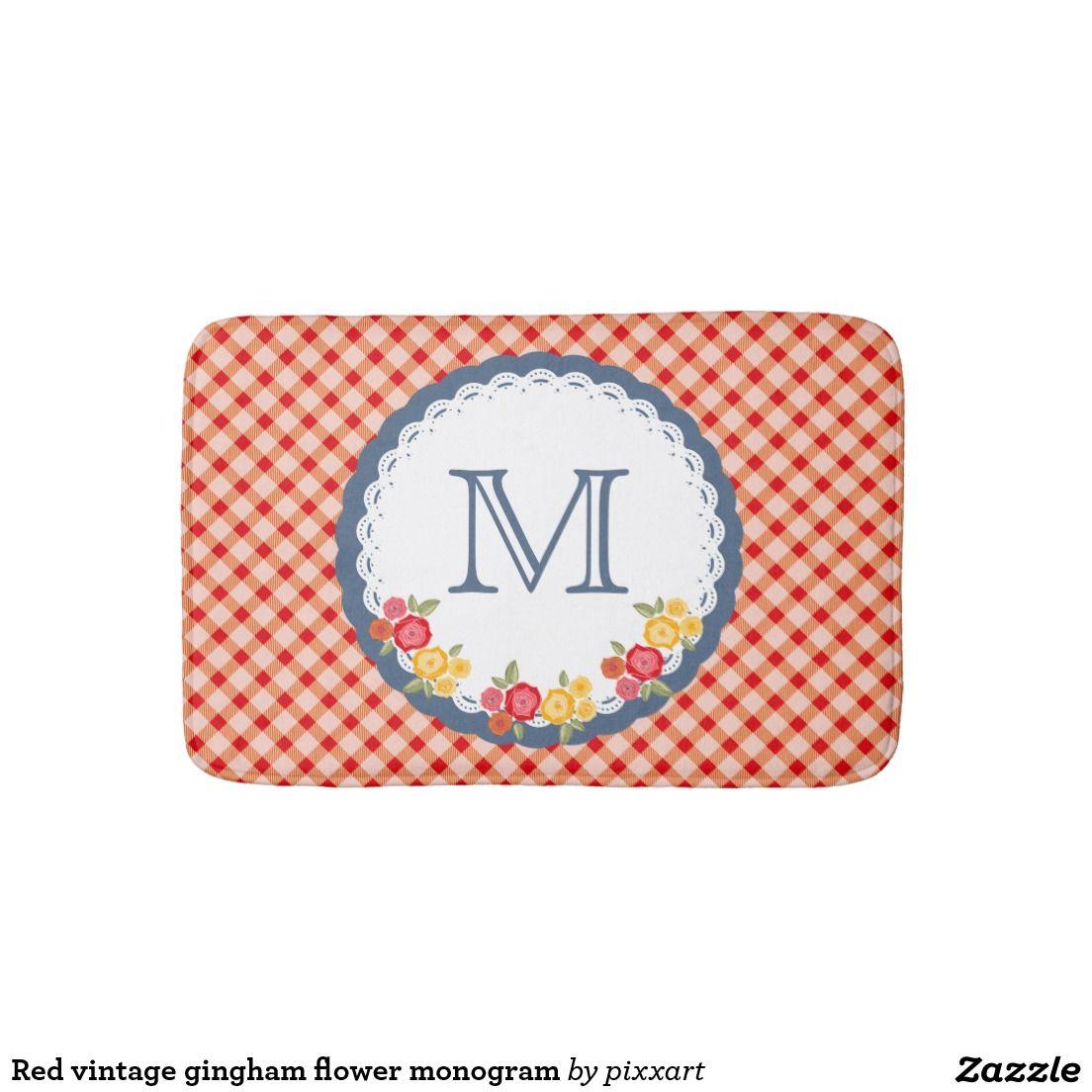 Gingham Flower Monogram Bathroom Mat
