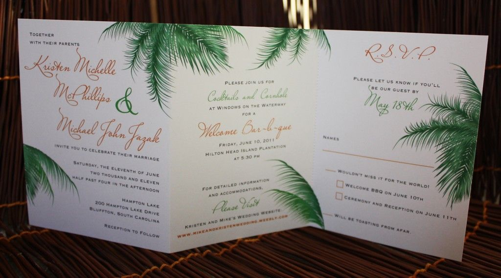 Orange And Green Palm Leaf Trifold Wedding Invitations
