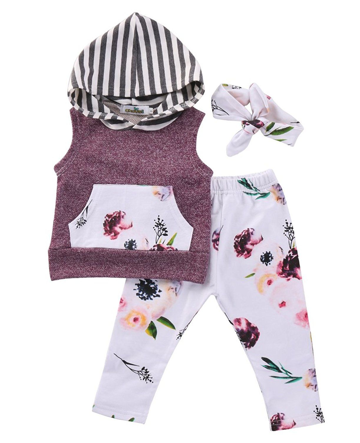 TUEMOS Baby Gril Clothes Stripe Hoddie Sweatshirt Top+Solid Color Long Pant Little Girl Outfits